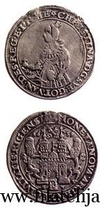 Dālderis. Kalts Rīgā 1639. gadā Zviedrijas karalienes Kristīnas valdīšanas laikā. Sudrabs. Diametrs 44 mm